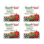 Retro Italian kitchen themed bridal shower favor sticker featuring red tomato and pepper