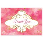 Watercolor thank you postcard with gold glitter