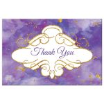 Watercolor thank you postcard with gold glitter in purple