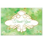 Watercolor thank you postcard with gold glitter in lime green
