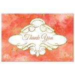Watercolor thank you postcard with gold glitter in orange