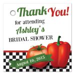 Retro Italian kitchen themed bridal shower favor tag featuring red tomato and pepper