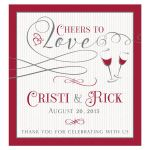 """Burgundy and gray personalized """"Cheers to Love"""" wedding wine label"""