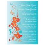 Destination or post wedding reception only invites with starfish, sea shells and tropical flowers