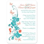 Destination or post wedding reception only invites with starfish, sea shells, butterflies and tropical flowers
