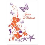 Orange, purple and white tropical beach theme post wedding reception only invitations