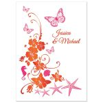 Orange, fuchsia pink and white tropical beach theme post wedding reception only invitations