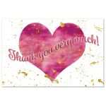Pink watercolor thank you postcard with gold glitter and heart