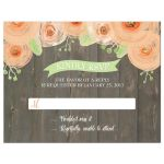 Rustic wood with peach watercolor flowers wedding RSVP flat card