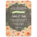 Rustic wood with peach watercolor flowers wedding invite