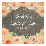 Rustic wood with peach watercolor flowers wedding favor gift tag