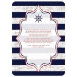 Wedding invitation with red, white and blue stripes, anchor, rope