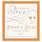"""Orange and gray personalized """"Cheers to Love"""" wedding wine label"""