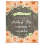 Rustic wood with peach watercolor flowers wedding save the date card