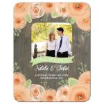 Rustic wood with peach watercolor flowers save the date photo card