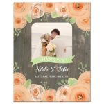 Rustic wood with peach watercolor flowers wedding thank you photo card
