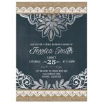 Rustic burlap, lace, and chalkboard trendy bridal shower invitation front