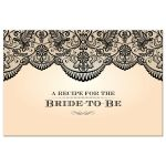 Recipe Card  - Sheer Black Lace Bridal Wedding Shower