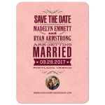 Save the Date Announcement - Vintage Pink Roses Typography Photo