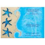 Paua shell starfish sandy beach and ocean tropical destination wedding invitation front