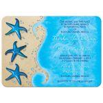 Paua shell starfish sandy beach and ocean tropical destination wedding invitation front