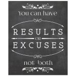"8x10 Chalkboard Quote: ""You Can Have Results Or Excuses Not Both"""