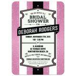 Bridal Wedding Shower Invitation - Retro Pink Glitter Stripes
