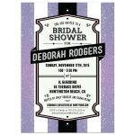 Bridal Wedding Shower Invitation - Retro Purple Glitter Stripes