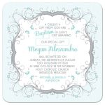 Blue, grey and white floral scroll vines and Christian cross Baptism invitation front