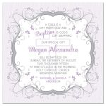 Purple, grey and white floral scroll vines and Christian cross Baptism invitation front