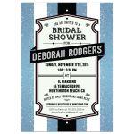 Bridal Wedding Shower Invitation - Retro Blue Glitter Stripes