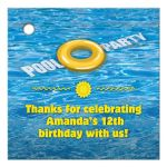 Favor Gift Tag - Yellow Floatie Pool Birthday Party