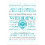 Wedding Invitation - Blue Typographic Retro Ornament