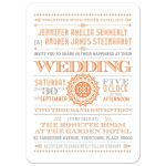Wedding Invitation - Orange Typographic Retro Ornament