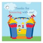 Boy's bounce house birthday thank you favor gift tags
