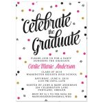 Striped Confetti Graduation Party Invitations front