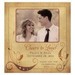 """vintage parchment floral """"Cheers to Love!"""" photo wedding wine labels"""