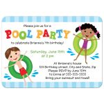 Cute pool birthday party invite with mixed race kids, one boy and one girl, playing on inflatables.