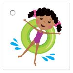 Pool party favor thank you tag with cute african american cartoon girl.