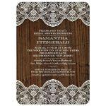 Bridal Wedding Shower Invitation - Rustic Lace Wood