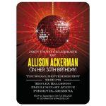 Party Invitation - Red Mirror Ball Birthday Celebration