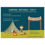 Boy's camping birthday party invite