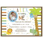 Baby's First Birthday Invitation With Colorful Confetti, Stripes And Baby Zoo Animals