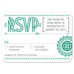 Wedding RSVP Reply Card - Green Typographic Retro Ornament