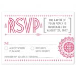 Wedding RSVP Reply Card - Pink Typographic Retro Ornament