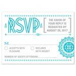 Wedding RSVP Reply Card - Blue Typographic Retro Ornament