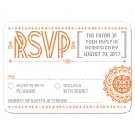 Wedding RSVP Reply Card - Orange Typographic Retro Ornament