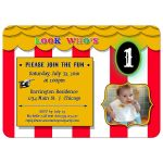 Under The Big Top Circus Fun Baby's First Birthday Party Invitation