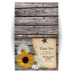 Rustic sunflower and daisy country western wedding thank you card