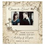 """Personalized vintage lace floral """"Cheers to Love!"""" photo wedding wine labels"""